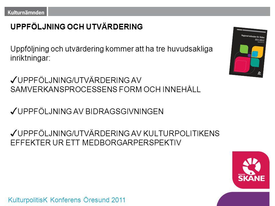 KulturpolitisK Konferens Öresund 2011 UPPFÖLJNING OCH UTVÄRDERING Uppföljning och utvärdering kommer att ha tre huvudsakliga inriktningar: ✓ UPPFÖLJNI