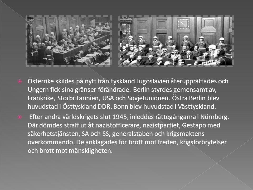  Österrike skildes på nytt från tyskland Jugoslavien återupprättades och Ungern fick sina gränser förändrade. Berlin styrdes gemensamt av, Frankrike,