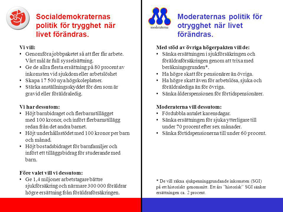 Socialdemokraternas politik för trygghet när livet förändras. Moderaternas politik för otrygghet när livet förändras. Vi vill: Genomföra jobbpaketet s