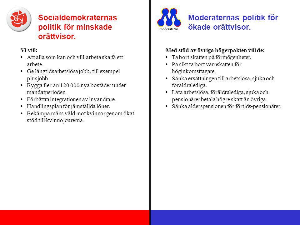 Socialdemokraternas politik för minskade orättvisor. Moderaternas politik för ökade orättvisor. Vi vill: Att alla som kan och vill arbeta ska få ett a