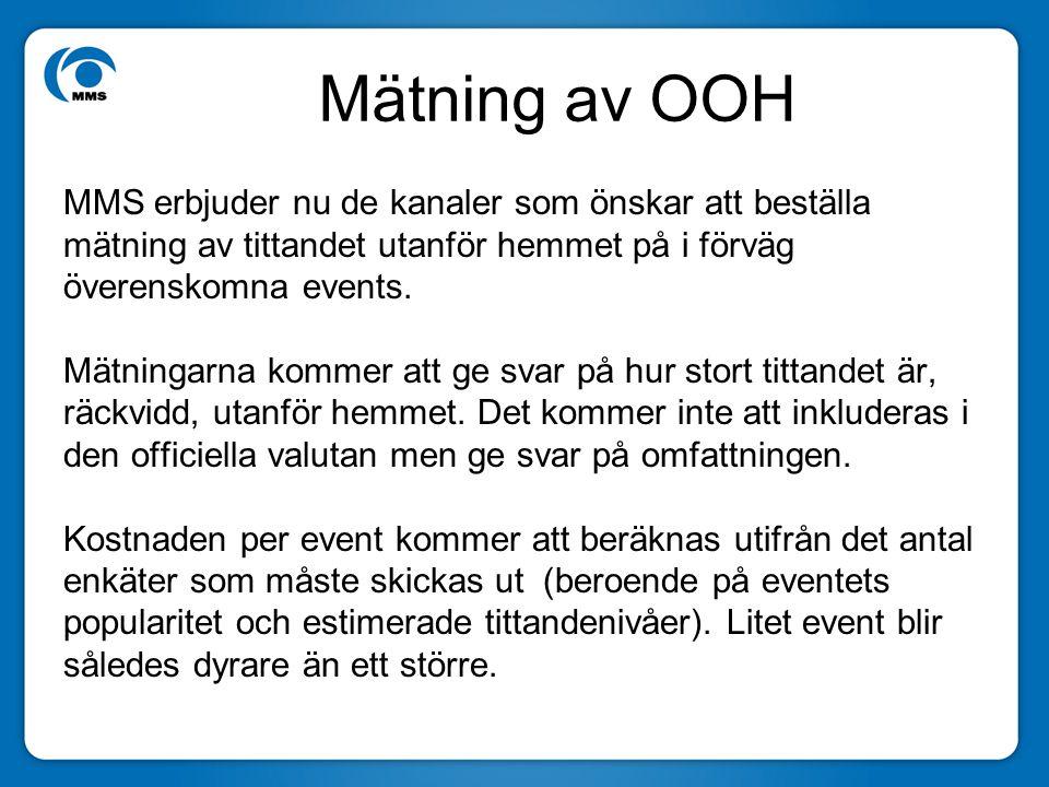 Mätning av OOH MMS erbjuder nu de kanaler som önskar att beställa mätning av tittandet utanför hemmet på i förväg överenskomna events.
