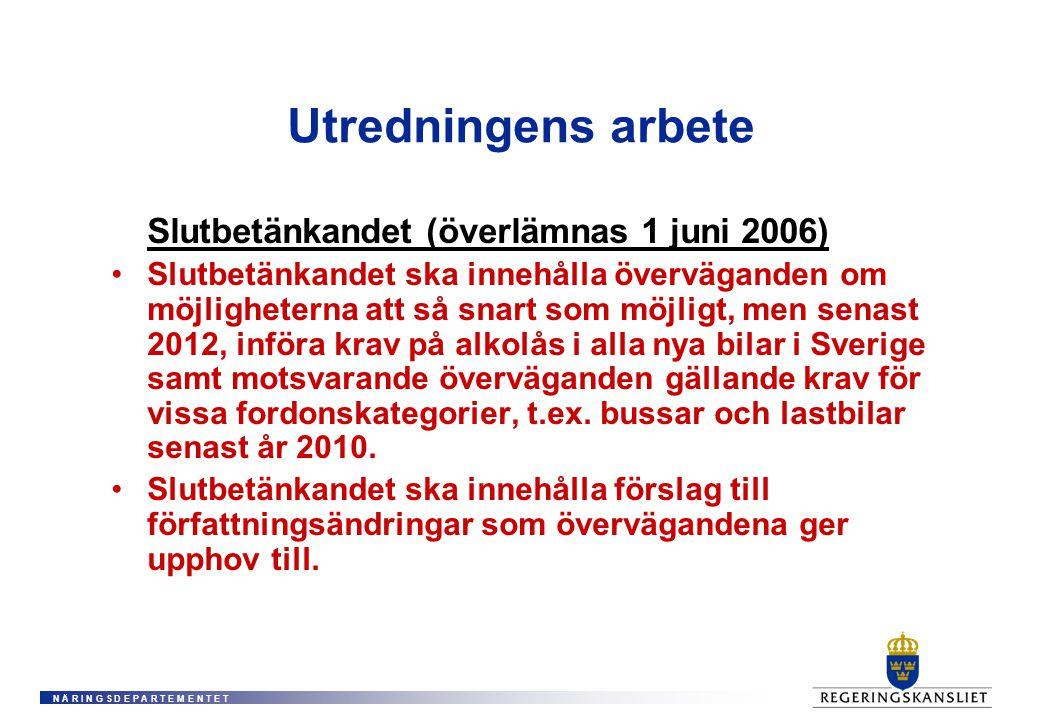 N Ä R I N G S D E P A R T E M E N T E T Utredningens arbete Slutbetänkandet (överlämnas 1 juni 2006) Slutbetänkandet ska innehålla överväganden om möjligheterna att så snart som möjligt, men senast 2012, införa krav på alkolås i alla nya bilar i Sverige samt motsvarande överväganden gällande krav för vissa fordonskategorier, t.ex.
