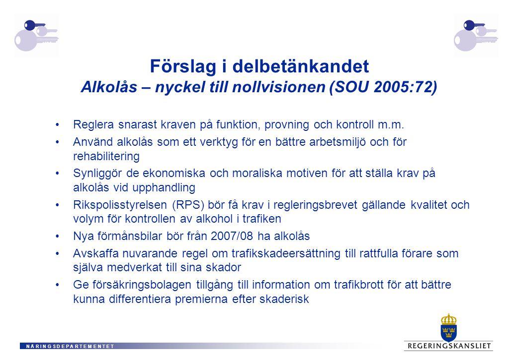 N Ä R I N G S D E P A R T E M E N T E T Förslag i delbetänkandet Alkolås – nyckel till nollvisionen (SOU 2005:72) Reglera snarast kraven på funktion, provning och kontroll m.m.