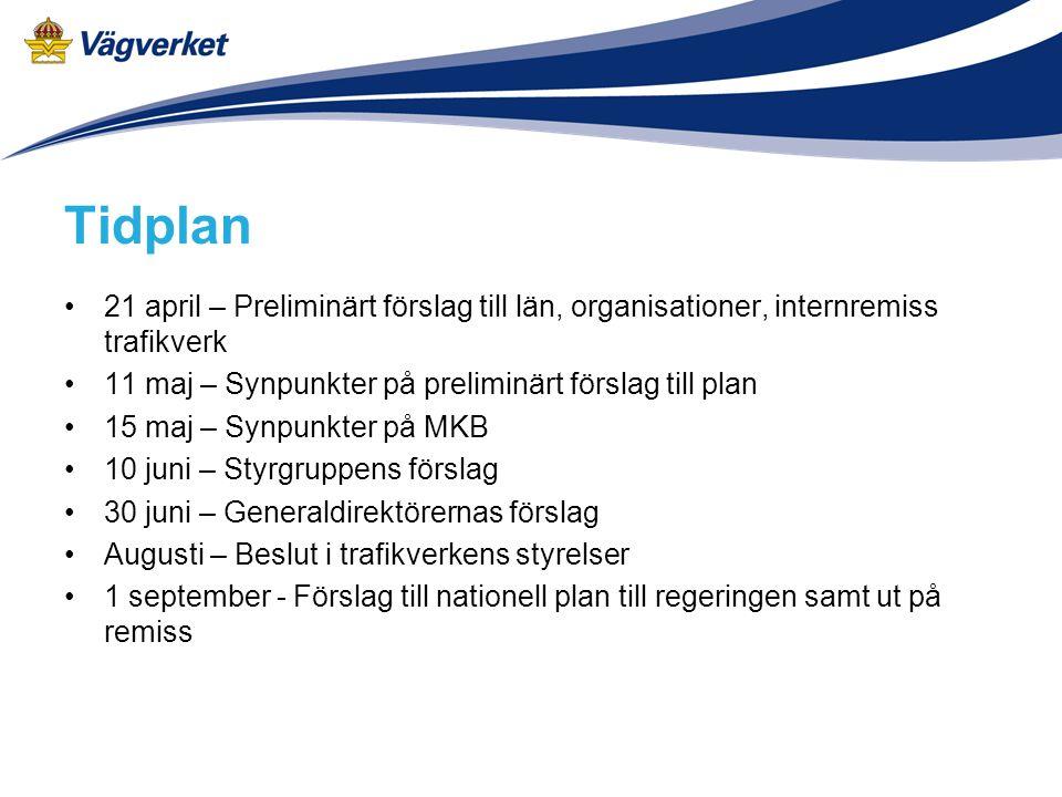 Tidplan 21 april – Preliminärt förslag till län, organisationer, internremiss trafikverk 11 maj – Synpunkter på preliminärt förslag till plan 15 maj –