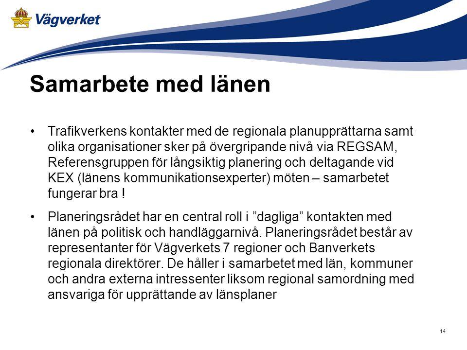 Samarbete med länen Trafikverkens kontakter med de regionala planupprättarna samt olika organisationer sker på övergripande nivå via REGSAM, Referensg