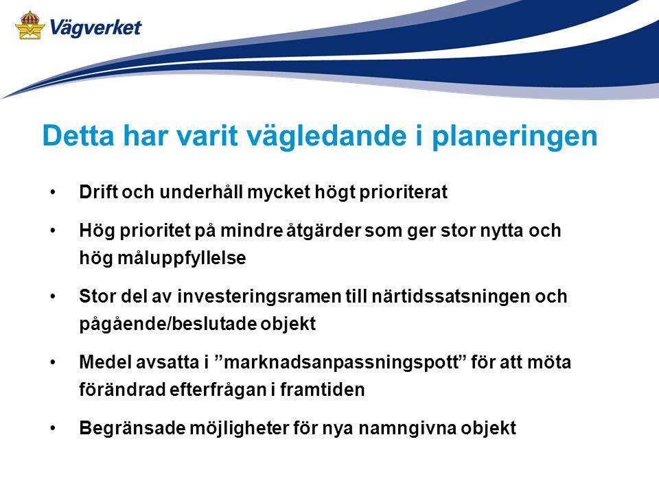 Drift och underhåll mycket högt prioriterat Hög prioritet på mindre åtgärder som ger stor nytta och hög måluppfyllelse Stor del av investeringsramen t