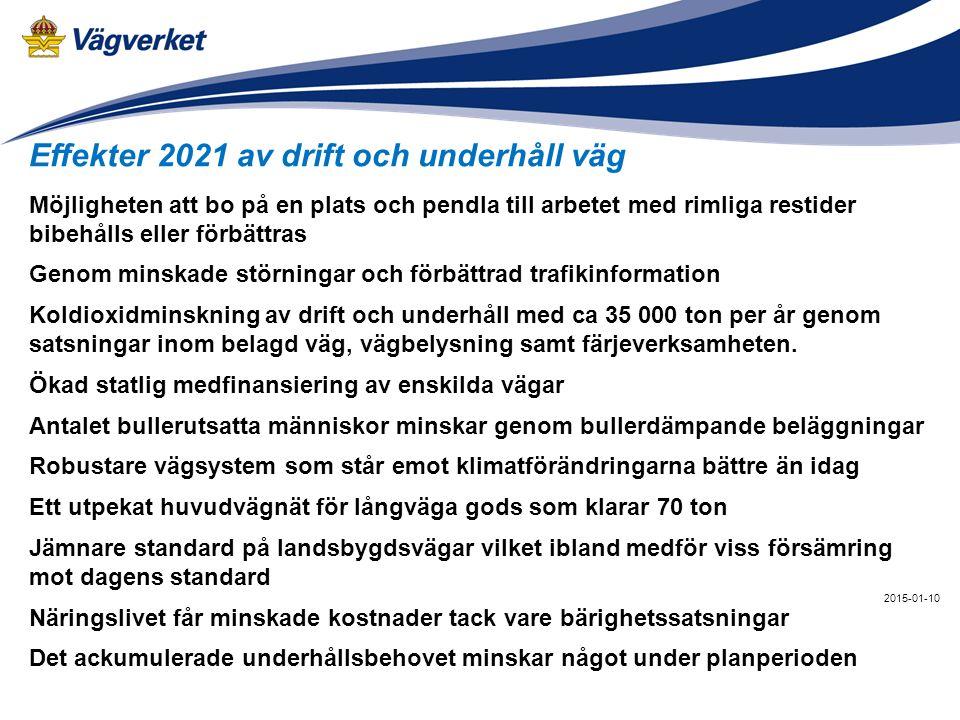 2015-01-10 Effekter 2021 av drift och underhåll väg Möjligheten att bo på en plats och pendla till arbetet med rimliga restider bibehålls eller förbät