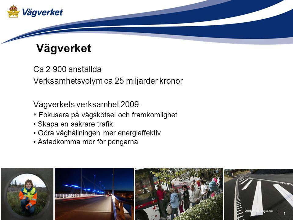 3Vägverket 2015-01-10 Ca 2 900 anställda Verksamhetsvolym ca 25 miljarder kronor Vägverkets verksamhet 2009: Fokusera på vägskötsel och framkomlighet