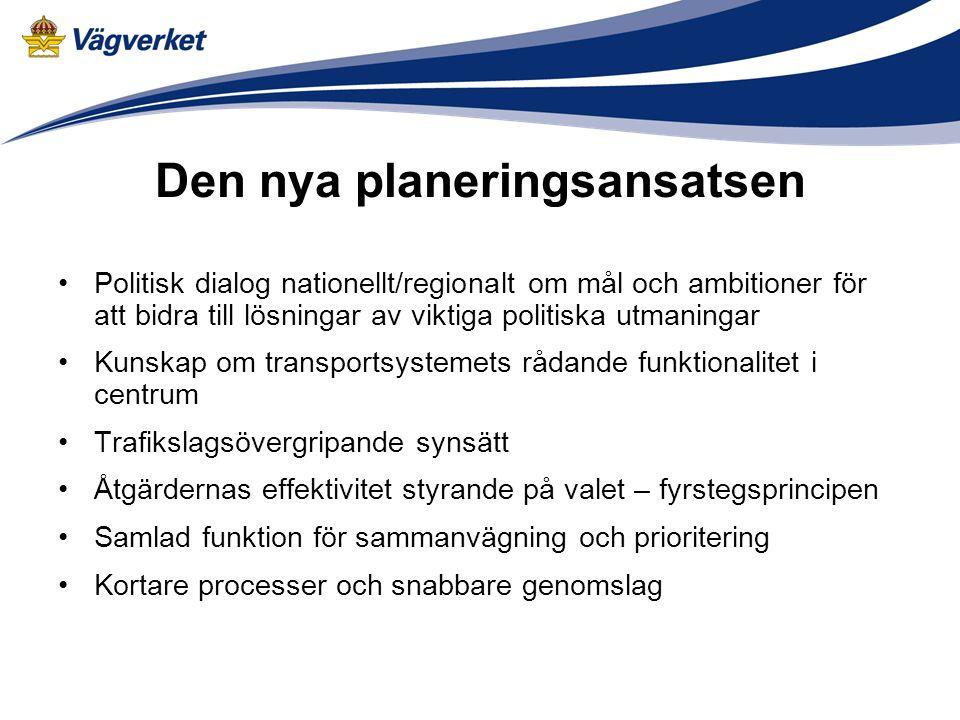 Den nya planeringsansatsen Politisk dialog nationellt/regionalt om mål och ambitioner för att bidra till lösningar av viktiga politiska utmaningar Kun