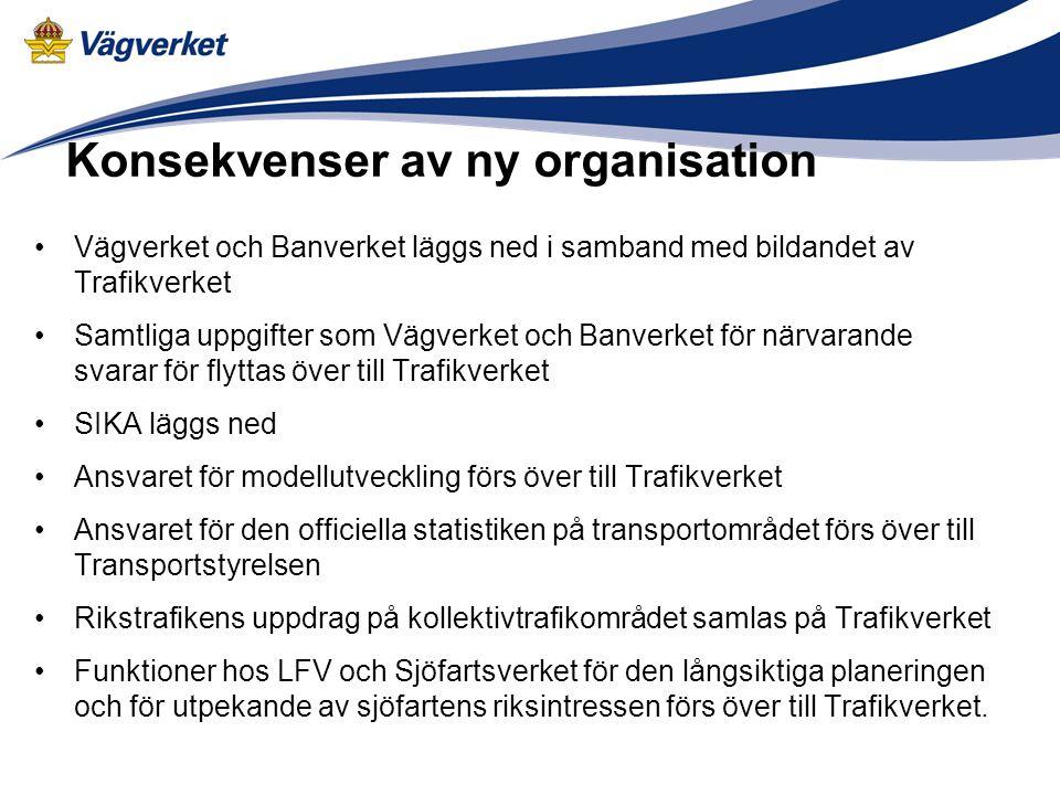 Konsekvenser av ny organisation Vägverket och Banverket läggs ned i samband med bildandet av Trafikverket Samtliga uppgifter som Vägverket och Banverk