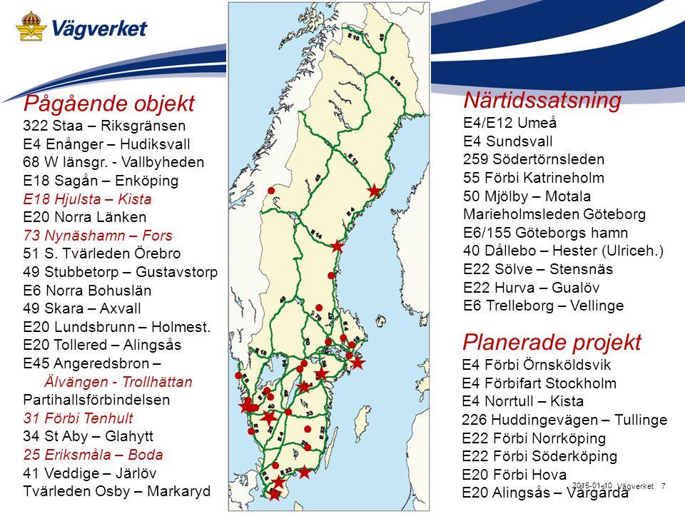 7Vägverket 2015-01-10 Pågående objekt 322 Staa – Riksgränsen E4 Enånger – Hudiksvall 68 W länsgr. - Vallbyheden E18 Sagån – Enköping E18 Hjulsta – Kis