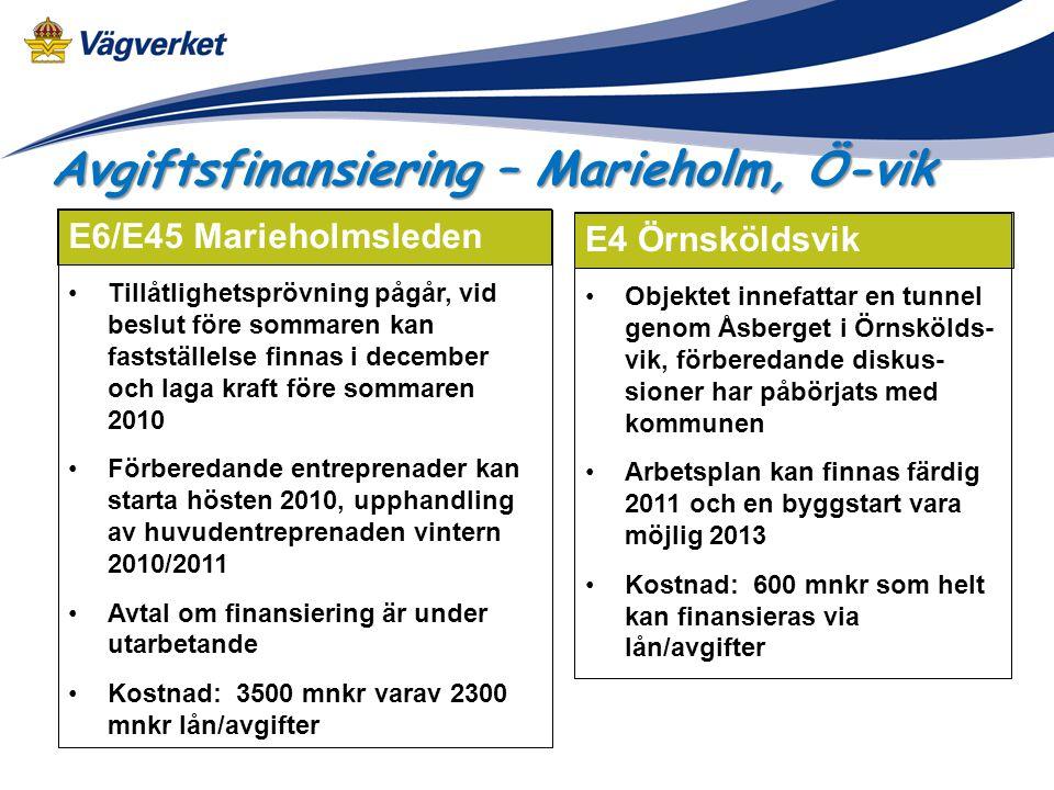 E6/E45 Marieholmsleden Tillåtlighetsprövning pågår, vid beslut före sommaren kan fastställelse finnas i december och laga kraft före sommaren 2010 För