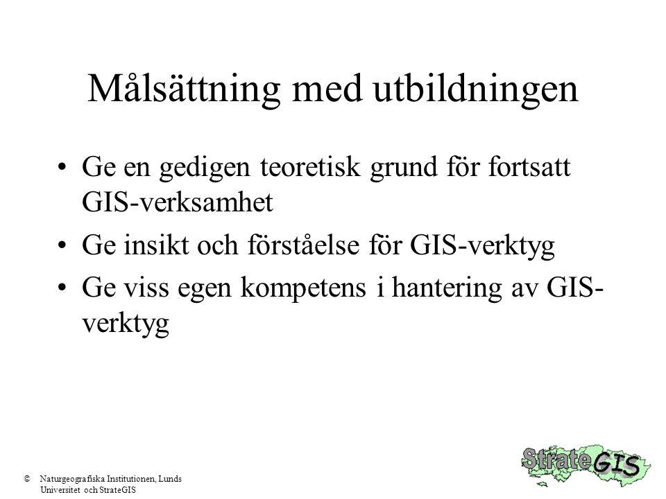 Målsättning med utbildningen Ge en gedigen teoretisk grund för fortsatt GIS-verksamhet Ge insikt och förståelse för GIS-verktyg Ge viss egen kompetens