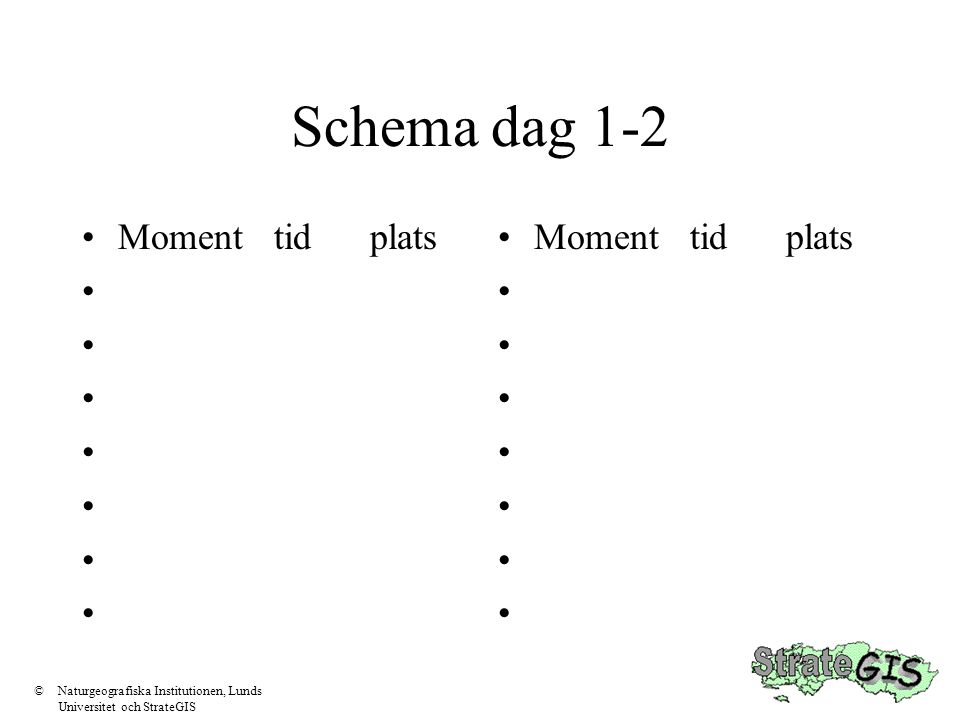 Schema dag 1-2 Momenttidplats Momenttidplats ©Naturgeografiska Institutionen, Lunds Universitet och StrateGIS
