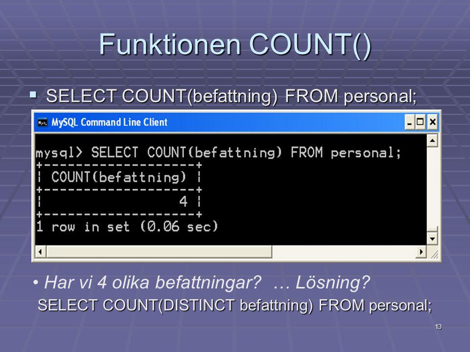 Funktionen COUNT()  SELECT COUNT(befattning) FROM personal; Har vi 4 olika befattningar.