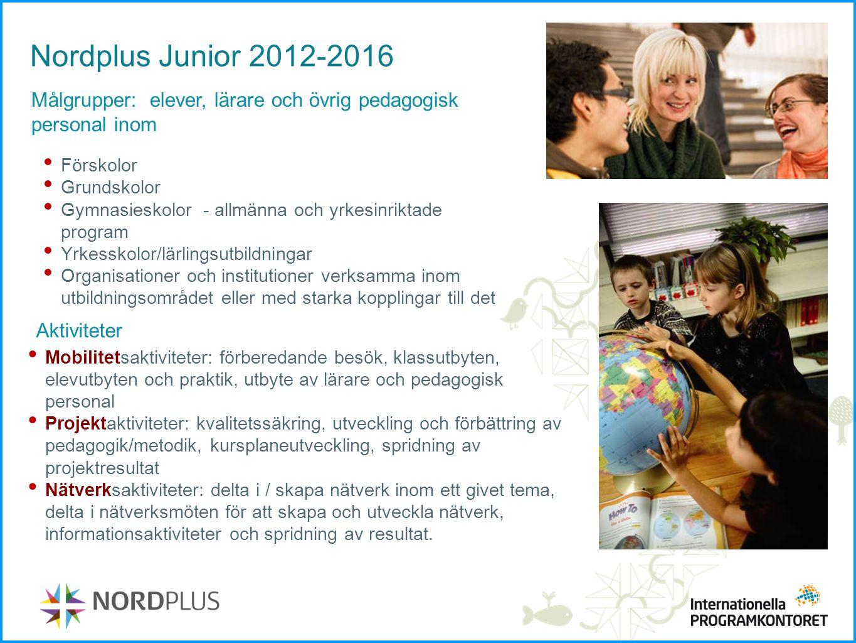 Nordplus Junior 2012-2016 Målgrupper: elever, lärare och övrig pedagogisk personal inom Förskolor Grundskolor Gymnasieskolor - allmänna och yrkesinrik