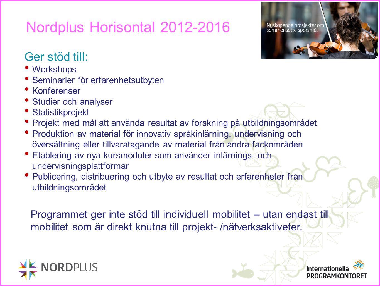 Nordplus Horisontal 2012-2016 Ger stöd till: Workshops Seminarier för erfarenhetsutbyten Konferenser Studier och analyser Statistikprojekt Projekt med