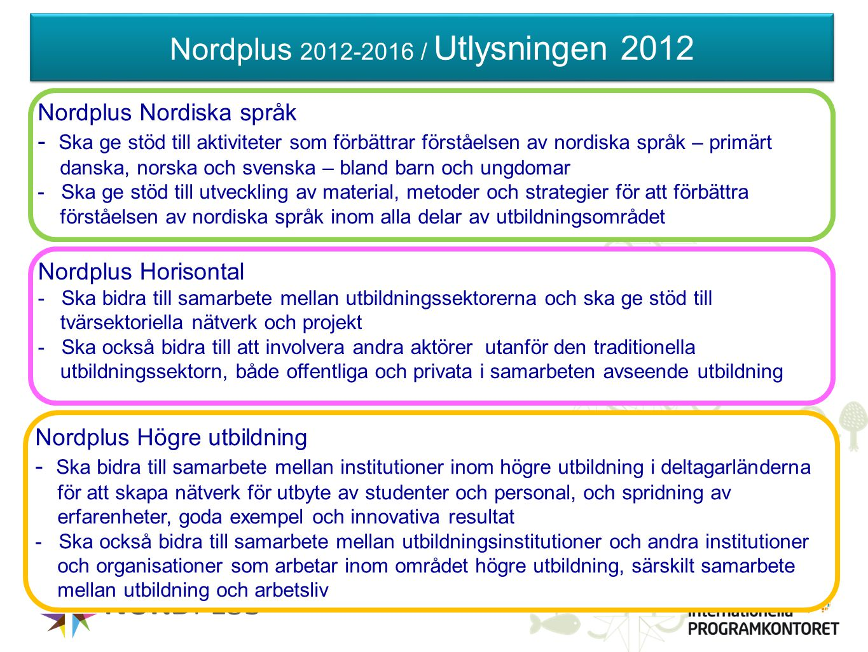 Nordplus 2012-2016 / Utlysningen 2012 Nordplus Horisontal - Ska bidra till samarbete mellan utbildningssektorerna och ska ge stöd till tvärsektoriella