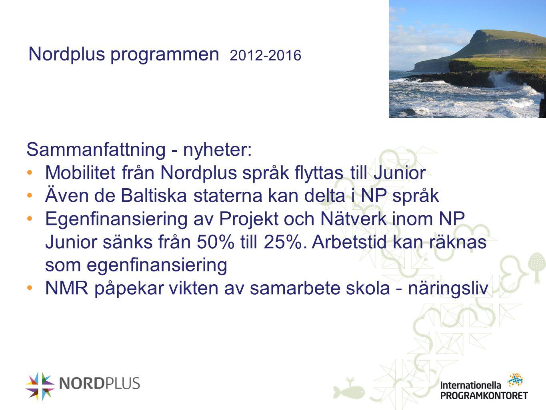 Nordplus programmen 2012-2016 Sammanfattning - nyheter: Mobilitet från Nordplus språk flyttas till Junior Även de Baltiska staterna kan delta i NP spr