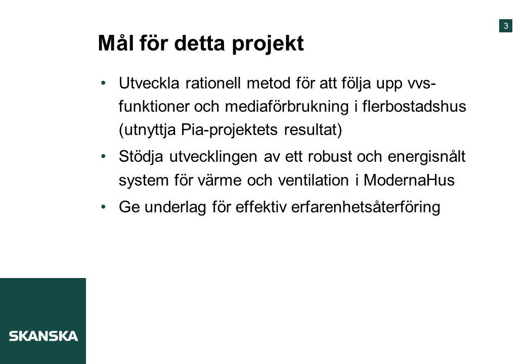 3 Mål för detta projekt Utveckla rationell metod för att följa upp vvs- funktioner och mediaförbrukning i flerbostadshus (utnyttja Pia-projektets resu