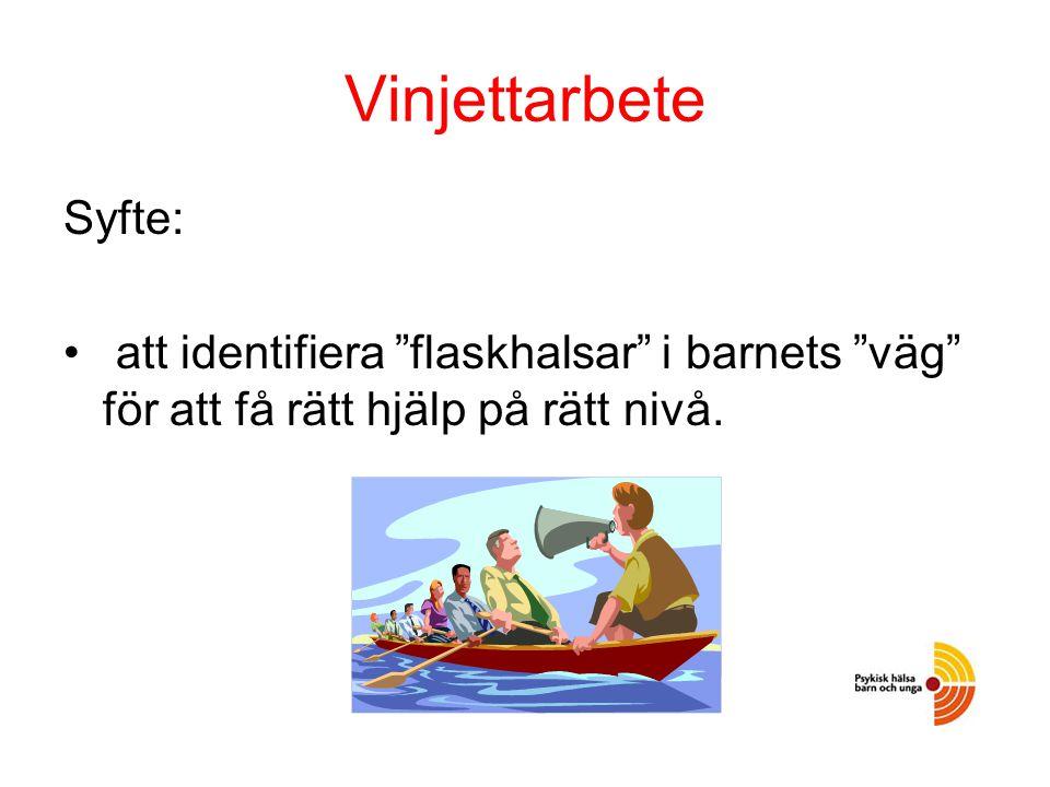 """Vinjettarbete Syfte: att identifiera """"flaskhalsar"""" i barnets """"väg"""" för att få rätt hjälp på rätt nivå."""