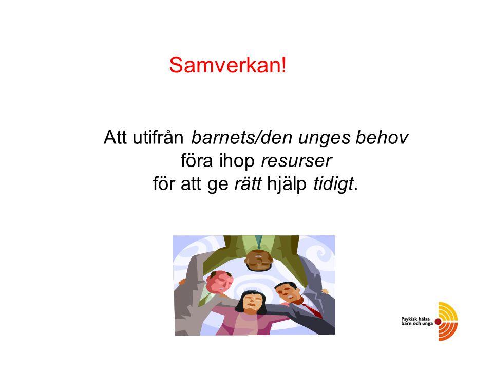 Att utifrån barnets/den unges behov föra ihop resurser för att ge rätt hjälp tidigt. Samverkan!