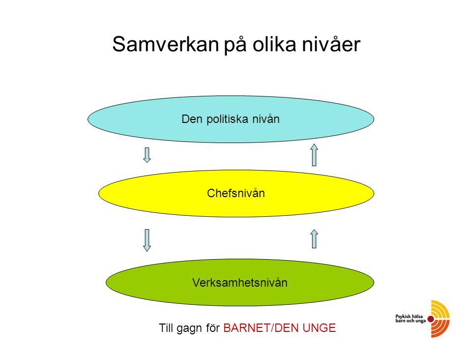 Samverkan på olika nivåer Den politiska nivån Chefsnivån Verksamhetsnivån Till gagn för BARNET/DEN UNGE