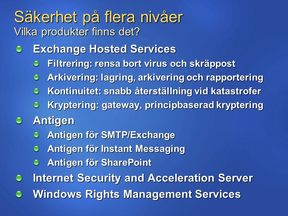 Säkerhet på flera nivåer Vilka produkter finns det? Exchange Hosted Services Filtrering: rensa bort virus och skräppost Arkivering: lagring, arkiverin