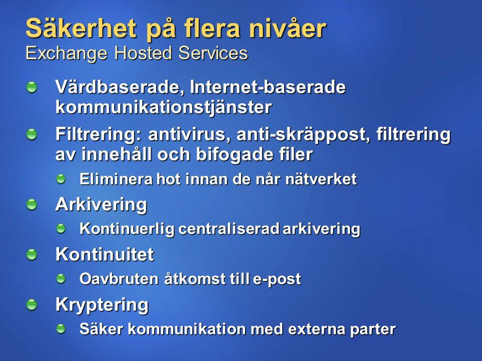 Säkerhet på flera nivåer Exchange Hosted Services Värdbaserade, Internet-baserade kommunikationstjänster Filtrering: antivirus, anti-skräppost, filtre