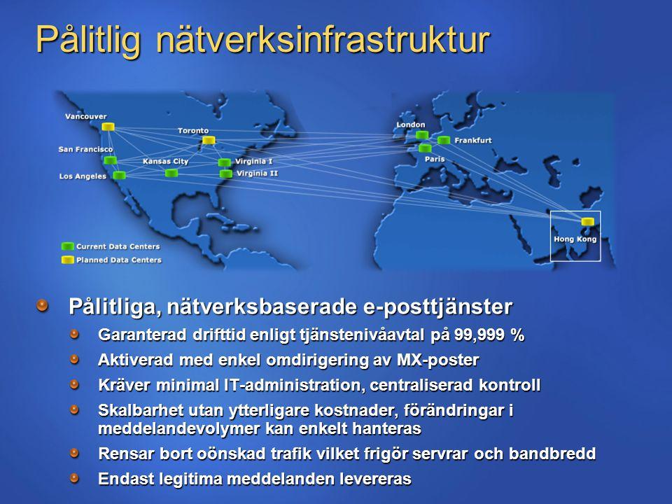 Pålitlig nätverksinfrastruktur Pålitliga, nätverksbaserade e-posttjänster Garanterad drifttid enligt tjänstenivåavtal på 99,999 % Aktiverad med enkel omdirigering av MX-poster Kräver minimal IT-administration, centraliserad kontroll Skalbarhet utan ytterligare kostnader, förändringar i meddelandevolymer kan enkelt hanteras Rensar bort oönskad trafik vilket frigör servrar och bandbredd Endast legitima meddelanden levereras