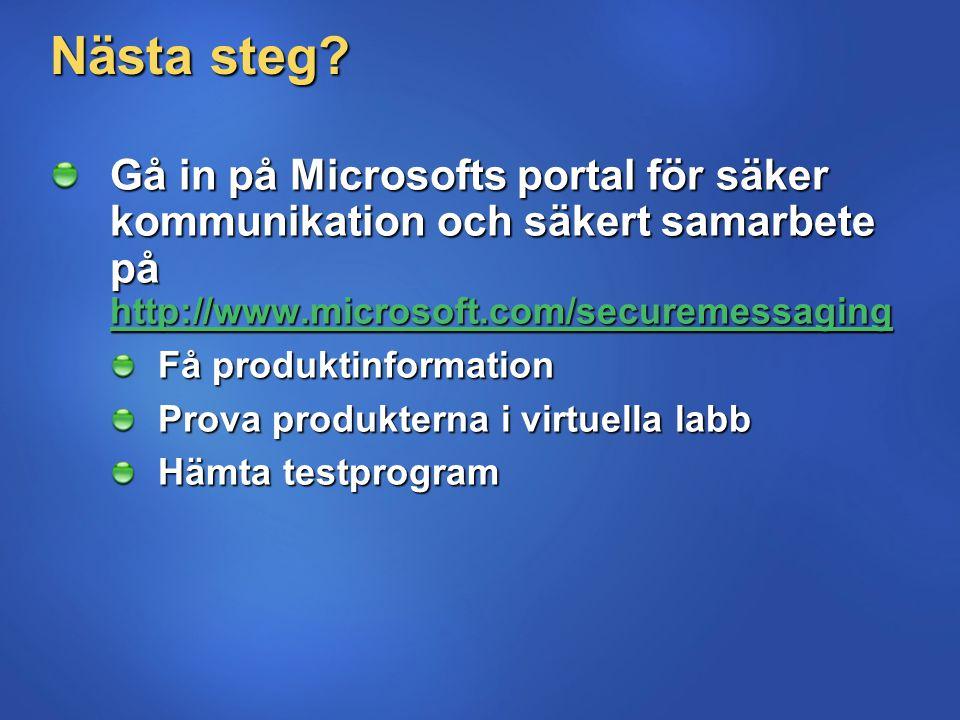 Nästa steg? Gå in på Microsofts portal för säker kommunikation och säkert samarbete på http://www.microsoft.com/securemessaging http://www.microsoft.c