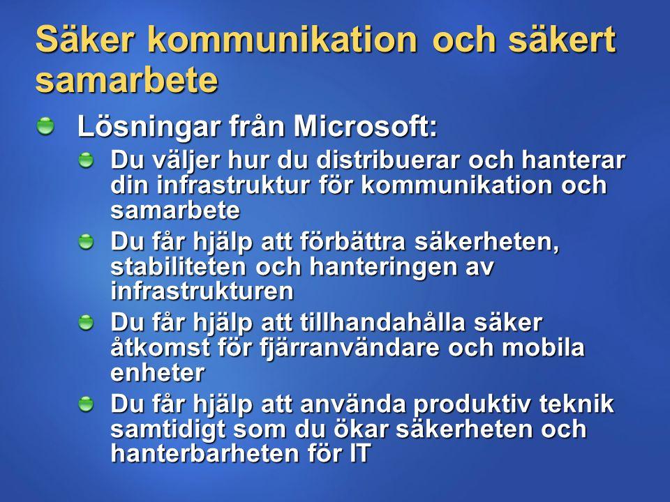 Säker kommunikation och säkert samarbete Lösningar från Microsoft: Du väljer hur du distribuerar och hanterar din infrastruktur för kommunikation och