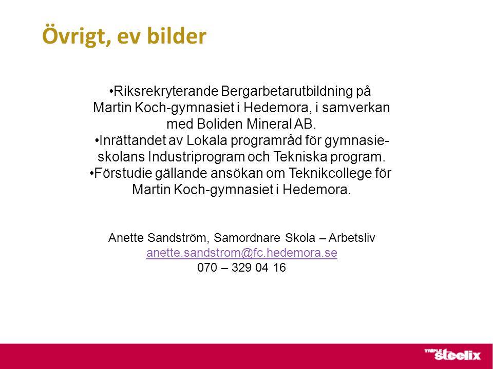 Övrigt, ev bilder Riksrekryterande Bergarbetarutbildning på Martin Koch-gymnasiet i Hedemora, i samverkan med Boliden Mineral AB.
