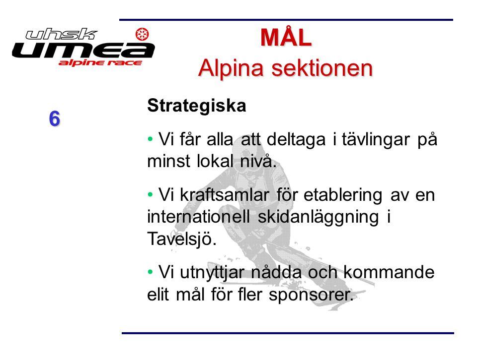 Strategiska Vi får alla att deltaga i tävlingar på minst lokal nivå. Vi kraftsamlar för etablering av en internationell skidanläggning i Tavelsjö. Vi
