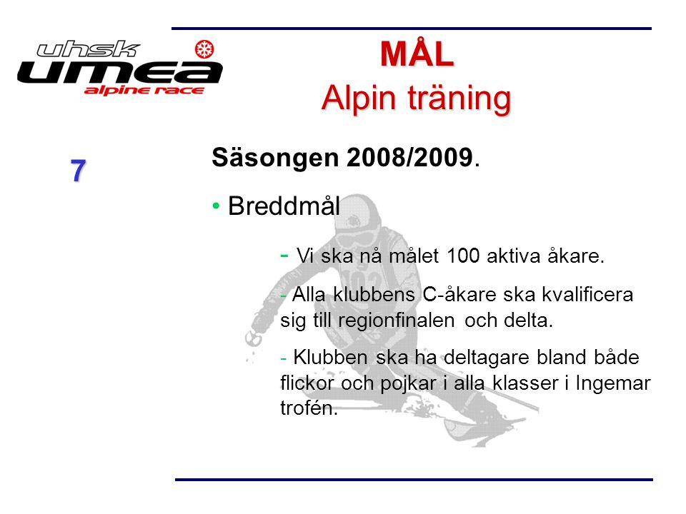 Säsongen 2008/2009. Breddmål  Vi ska nå målet 100 aktiva åkare.