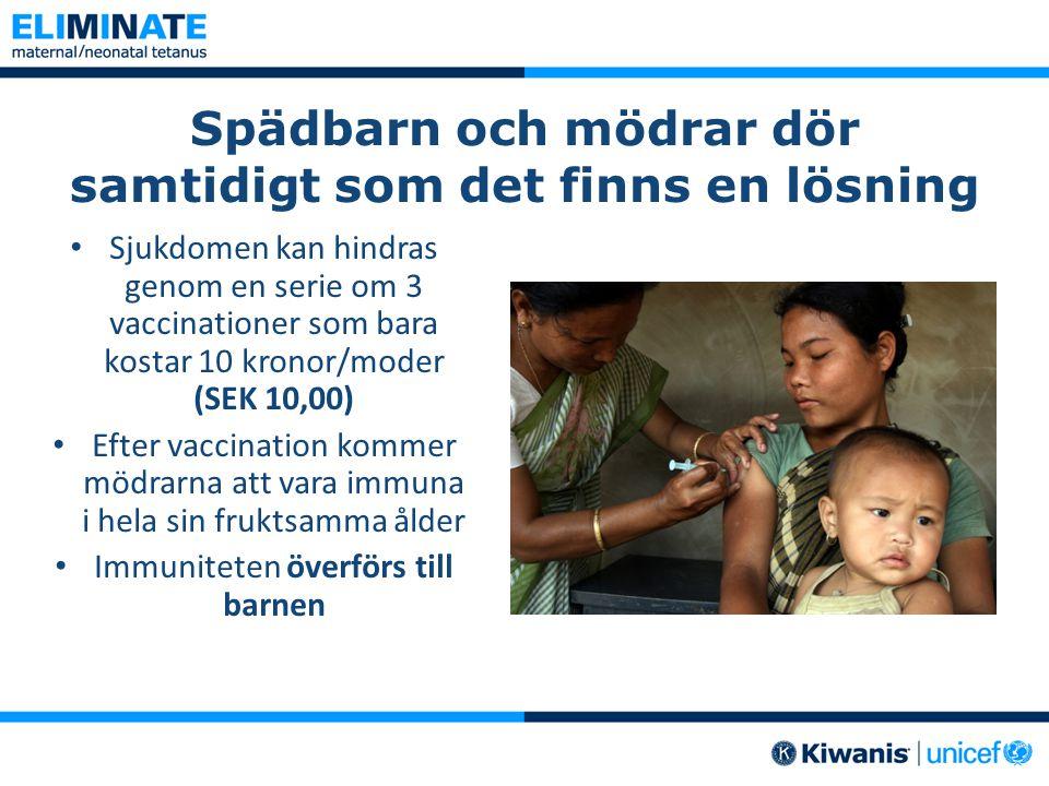 Spädbarn och mödrar dör samtidigt som det finns en lösning Sjukdomen kan hindras genom en serie om 3 vaccinationer som bara kostar 10 kronor/moder (SEK 10,00) Efter vaccination kommer mödrarna att vara immuna i hela sin fruktsamma ålder Immuniteten överförs till barnen