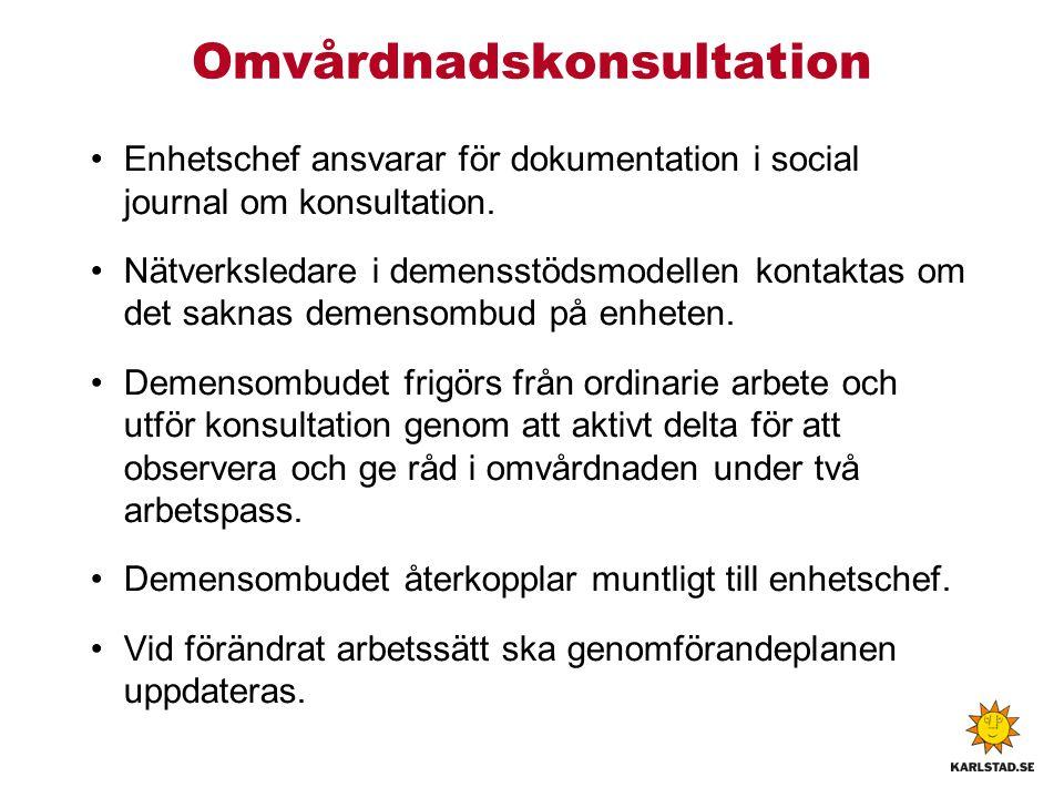 Omvårdnadskonsultation Enhetschef ansvarar för dokumentation i social journal om konsultation.