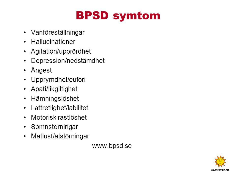 BPSD symtom Vanföreställningar Hallucinationer Agitation/upprördhet Depression/nedstämdhet Ångest Upprymdhet/eufori Apati/likgiltighet Hämningslöshet Lättretlighet/labilitet Motorisk rastlöshet Sömnstörningar Matlust/ätstörningar www.bpsd.se