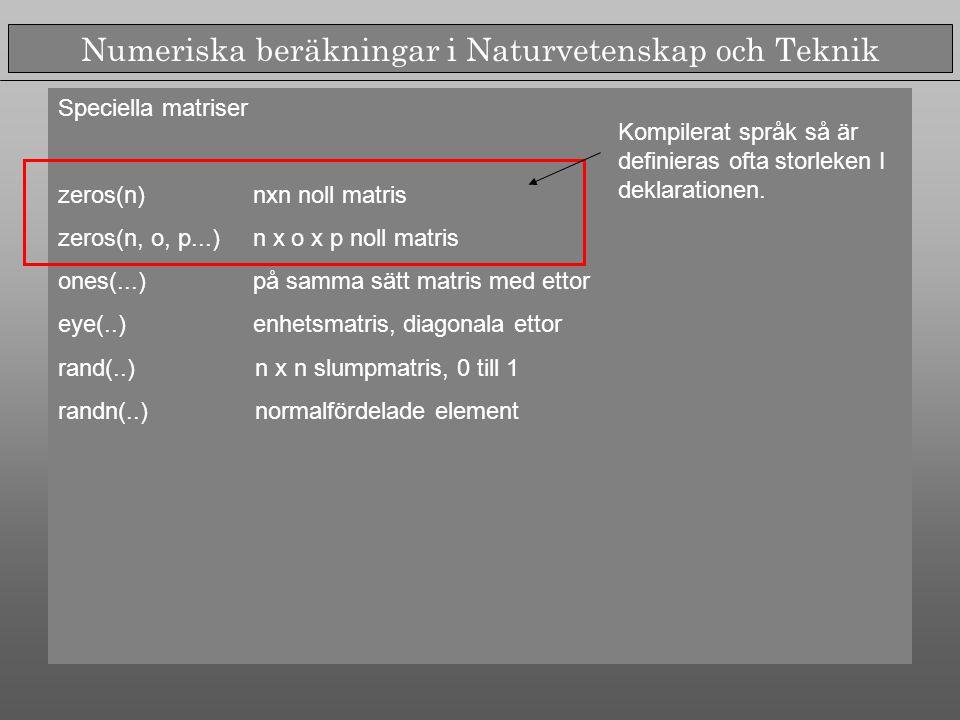 Numeriska beräkningar i Naturvetenskap och Teknik Speciella matriser zeros(n) nxn noll matris zeros(n, o, p...) n x o x p noll matris ones(...) på samma sätt matris med ettor eye(..) enhetsmatris, diagonala ettor rand(..) n x n slumpmatris, 0 till 1 randn(..) normalfördelade element Kompilerat språk så är definieras ofta storleken I deklarationen.