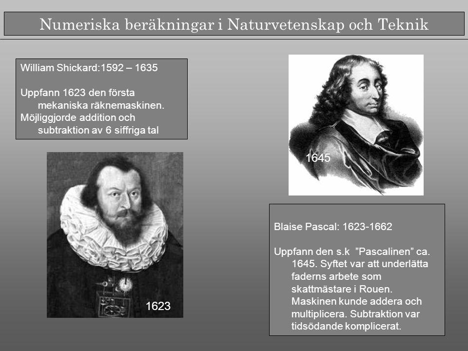 William Shickard:1592 – 1635 Uppfann 1623 den första mekaniska räknemaskinen.