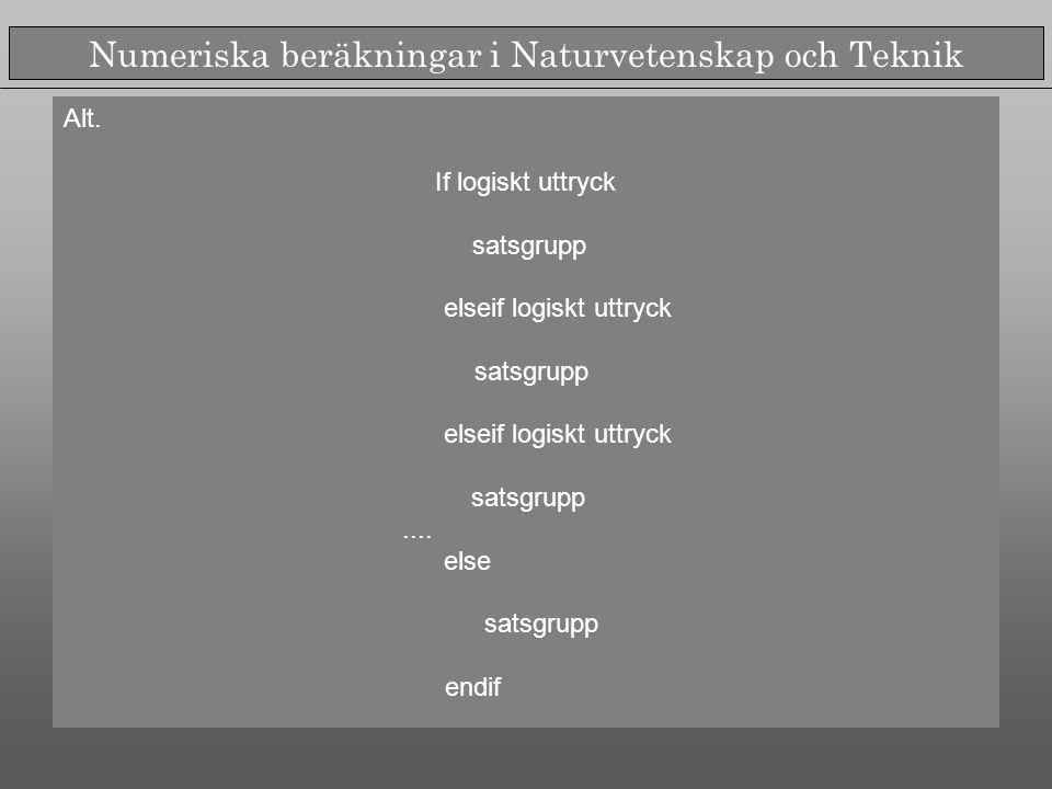 Numeriska beräkningar i Naturvetenskap och Teknik Alt.
