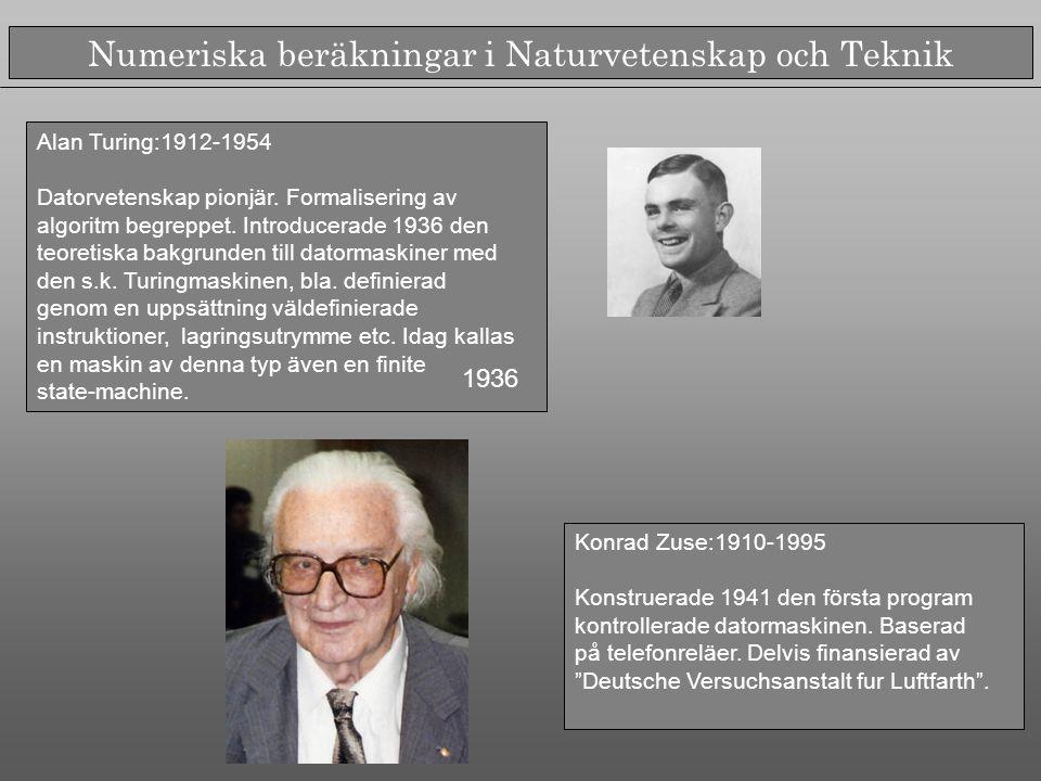Numeriska beräkningar i Naturvetenskap och Teknik John von Neumann:1903-1957 En av de första fakultetsmedlemmarna vid IAS, Princeton (tillsammans med Einstein, Gödel, Weyl).