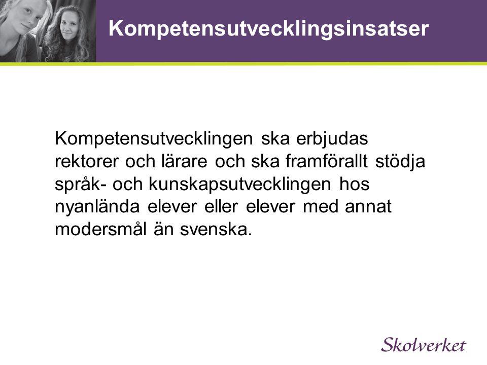 Fler lektioner i svenska Tre timmar mer svenska i veckan för elever i årskurs 6-9 som är nyanlända Varje elev kan få fler lektioner i fyra terminer 30 miljoner kronor per år i statsbidrag