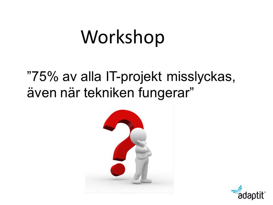 75% av alla IT-projekt misslyckas, även när tekniken fungerar Workshop