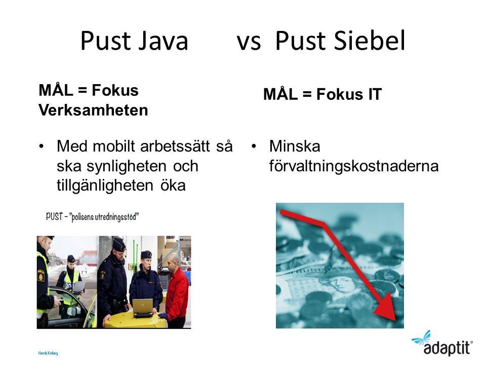 Pust Java vs Pust Siebel MÅL = Fokus Verksamheten Med mobilt arbetssätt så ska synligheten och tillgänligheten öka MÅL = Fokus IT Minska förvaltningskostnaderna