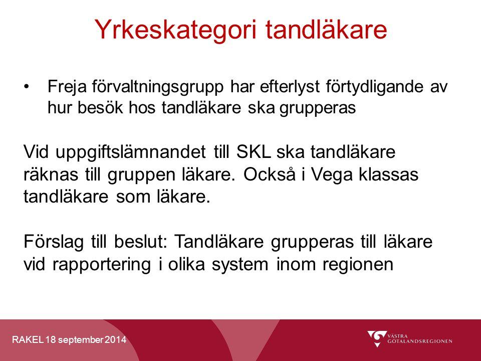 RAKEL 18 september 2014 Yrkeskategori tandläkare Freja förvaltningsgrupp har efterlyst förtydligande av hur besök hos tandläkare ska grupperas Vid upp