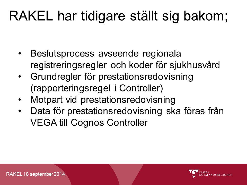 RAKEL 18 september 2014 RAKEL har tidigare ställt sig bakom; Beslutsprocess avseende regionala registreringsregler och koder för sjukhusvård Grundregl