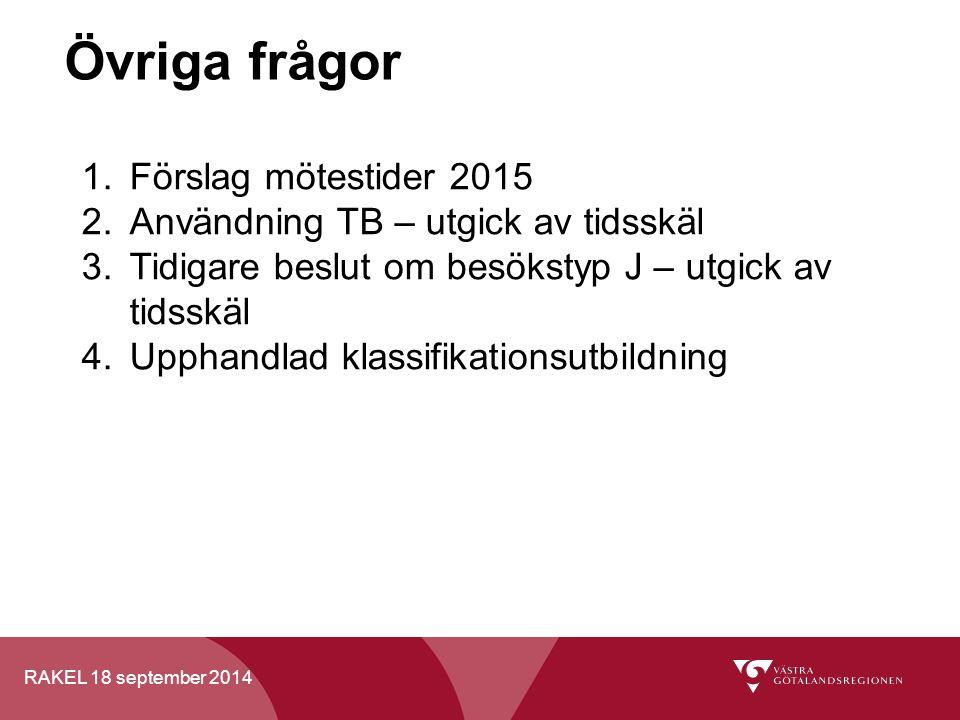 RAKEL 18 september 2014 Övriga frågor 1.Förslag mötestider 2015 2.Användning TB – utgick av tidsskäl 3.Tidigare beslut om besökstyp J – utgick av tids