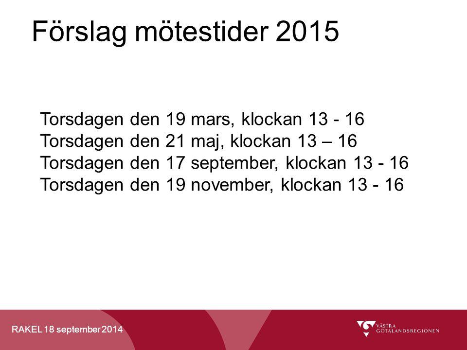RAKEL 18 september 2014 Förslag mötestider 2015 Torsdagen den 19 mars, klockan 13 - 16 Torsdagen den 21 maj, klockan 13 – 16 Torsdagen den 17 septembe