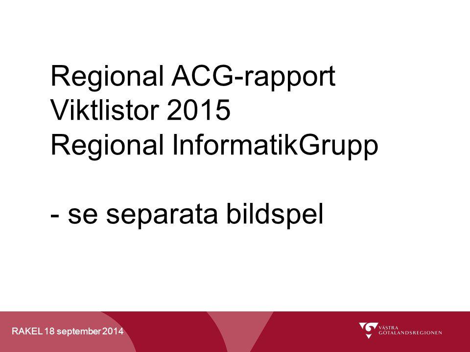 RAKEL 18 september 2014 Regional ACG-rapport Viktlistor 2015 Regional InformatikGrupp - se separata bildspel